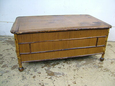 Antique Victorian Shirt Pants Bamboo Storage Box Chest Trunk w Stick & Ball Base