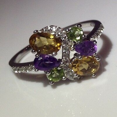 Citrine, Amethyst,peridot&topaz 14Ct White Gold Plated, 925 Silver Ring Size 9