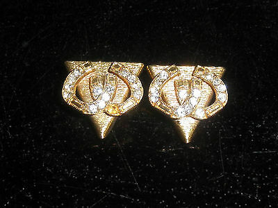 Goldtone Square Dancing Collar Tips with Sparkly Horseshoes