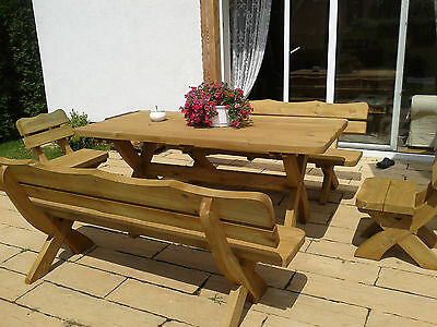 HQ Garden Furniture Large Patio Set, Table, 2 Benches, 2 Chairs Solid Real Wood.