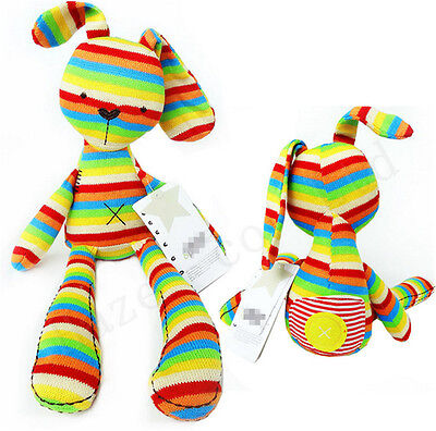 Colorful Striped Rabbit Plush Bunny Placate Toy Gift for Children