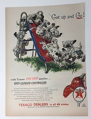 Original Print Ad 1954 TEXACO Dealers Get Up and Go Dalmatians Fire Chief