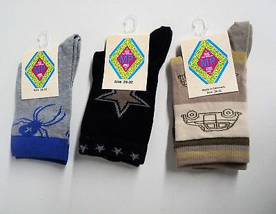 Navy Taupe Boys crew socks by MP set of 3 pairs Steel Blue