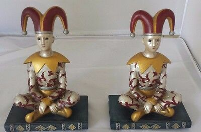 Harlequin  Detailed Vtg.  Pair of Jester Bookends Clowns- Rare-- Signed