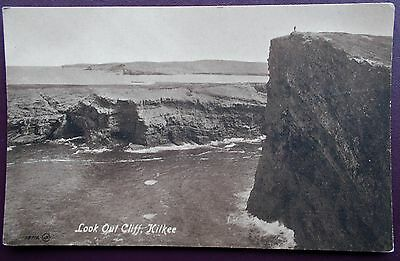 OLD 1903  B&W ANIMATED POSTCARD LOOK OUT CLIFF KILKEE,Co.CLARE IN IRELAND - Vgc