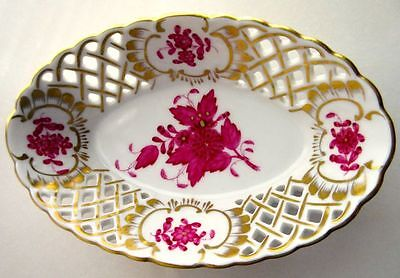 Herend Exquisite Porcelain Apponyi Flowers Reticulated Vintage Nuts Dish