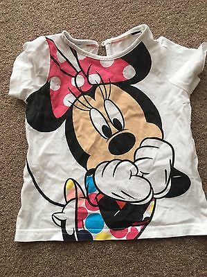 M&S Disney Minnie Mouse T-Shirt Top - Age 1.5-2 Years/ 18-24 Months