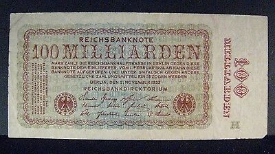 1923 Germany 100 Milliarden Mark Reichbank Note Circ,   ** FREE U.S. SHIPPING **