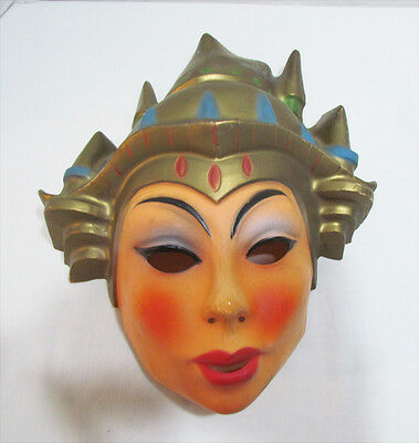CHINESE PRINCESS QUEEN PLASTIC HALLOWEEN MASK VINTAGE c. 1960's ASIAN LADY WOMAN