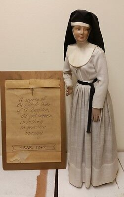 """Antique Hand Crafted Sister St. Augustine Nurse Doll with Base 30"""" Tall"""