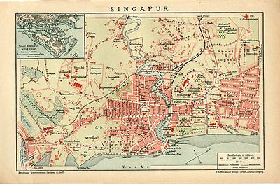 1912 SINGAPORE CITY PLAN Antique Map dated