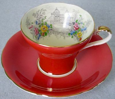 Aynsley Fancy Coral Colored Hand Painted Park Garden Corset Cup & Saucer MINT