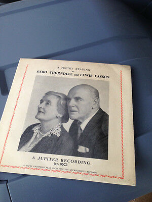 A Poetry Reading by Sybil Thorndike and Lewis Casson 45rpm vinyl extended play