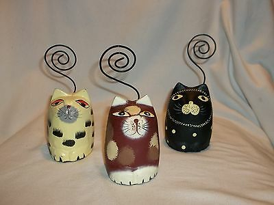 Pier 1 Cat Photo Holders 3 Colorful Cats