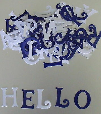 PACK OF Appox. 75 Blue and White Glossy LETTERS for CARD MAKING