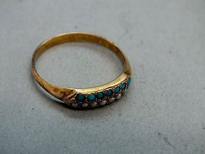 Early 19th C 18ct Gold (tested) Turquoise and Pearl Ring c1825