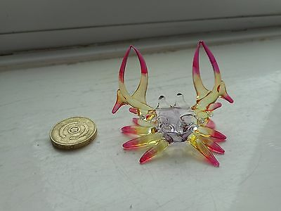 Crab -  Glass Beautiful Detailed - Mauve/yellow/pink Coloured Glass Crab