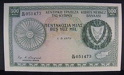 1979 Cyprus, Central Bank of, 500 Mil Bank Note Crisp   ** FREE U.S. SHIPPING **