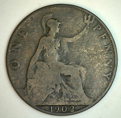 1902 Bronze One Pence UK One Penny Britain Coin F