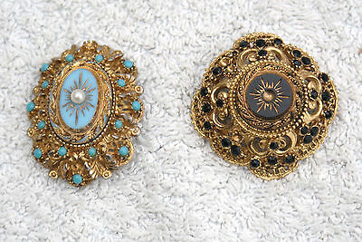 Two Antique  Brooches (Sphinx) (Black Mourning Victorian & Turquoise Designs)