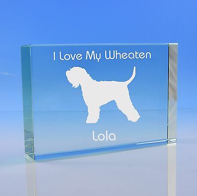 Soft Coated Wheaten Terrier Dog Gift Personalised Engraved Glass Paperweight