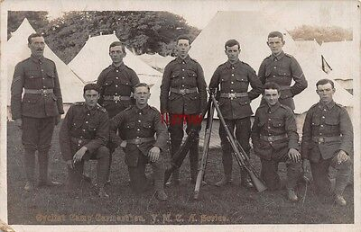 Military Carmarthen Cyclist Camp Young Soldiers Pose Ymca Series Photo Card