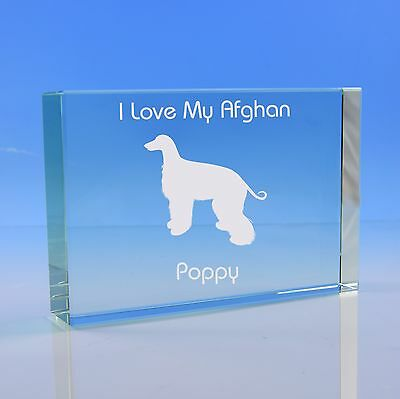 Afghan Hound Dog Lover Gift Personalised Engraved Glass Paperweight - Birthday