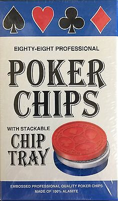Eighty-Eight Professional Poker Chips with Stackable Chip Tray