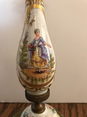 Rare Antique SEVRES hand painted Porcelain and  Bronze CANDLESTICK - Signed
