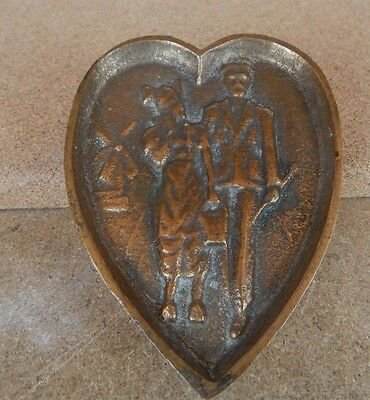 Antique brass Risque Erotic Pin Dish WW1 Soldier with his Girl Trench Art