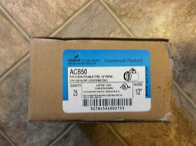 """Cooper Crouse-Hinds ACB50 For Conduit/Cable 1/2"""" Box Of 25"""