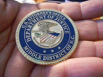 Middle District of NC US Attorneys Office Department of Justice Challenge Coin