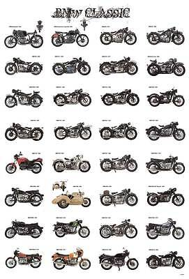 "BMW MOTORCYCLE BIKE VINTAGE MANY MODEL THE POSTER 24""x36"" NEW SIDE SHEET J-4452"
