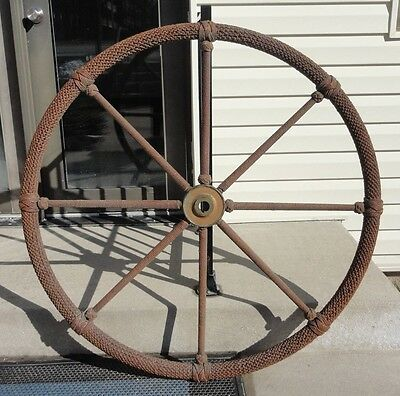 """Antique Brass Rope Covered Ship's Wheel 43"""" In Dia. Amazing Rope/knot Work!"""