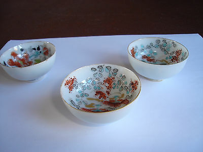 chinese fine porcelain 3 hand painted tea bowls saki