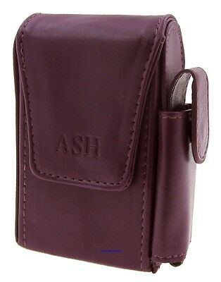 Cigarette Packet Case - Ash Purple Leather Style with Lighter Holder - NEW apc6