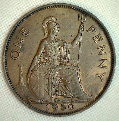 1950 Great Britain Penny KM#869 Bronze Coin George V XF #P