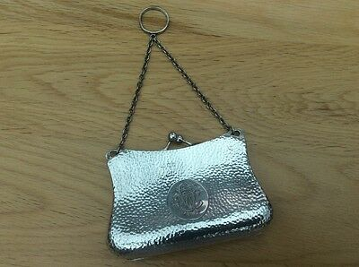 Antique Chester solid silver hallmarked purse with chain - c1908 - 143.4 grams