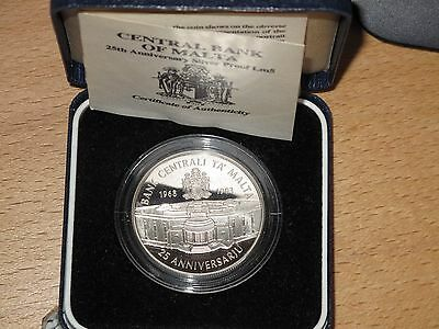 Malta 5 Liri 1993 Central Bank, PROOF Unc. Silver, ONLY 1500 Minted