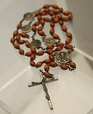 ANTIQUE ITALY Wood + Silver Rosary