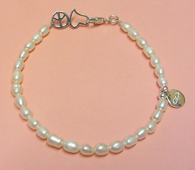 Sterling Silver Infinity Bracelet Beautiful White Freshwater Pearls Heart Clasp
