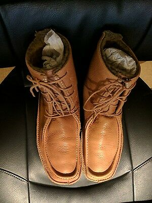 Mens Tan Brown Soft Leather Lace-up Fur-lined Boots Size 8