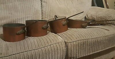 Vintage french copper sauce pans