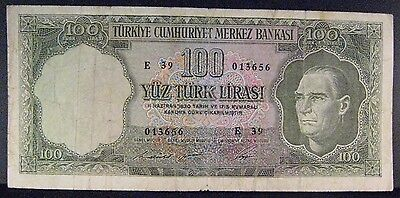 1930 Turkey, Bank of  100 Lire Bank Note Circulated   ** FREE U.S. SHIPPING **
