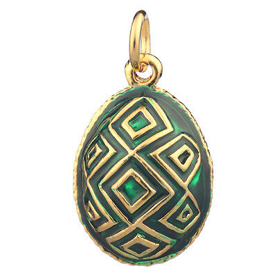 Faberge Egg Pendant / Charm 2 cm green #P5-04
