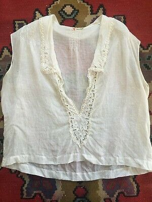 Antique 1910s French Cotton Blouse Cutwork Whitework Embroidery Lace Vintage