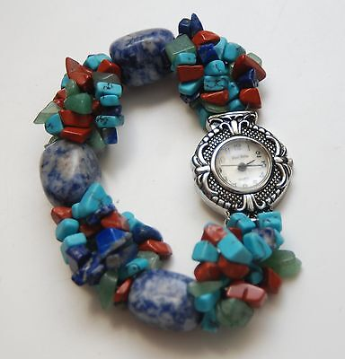FRED BELAY Turquoise Coral Sodalite Beaded Silver Tone Stretch Watch Bracelet