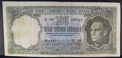 1930 Turkey, Bank of,100 Lire Bank Note (1.10.1964)  ** FREE U.S. SHIPPING **