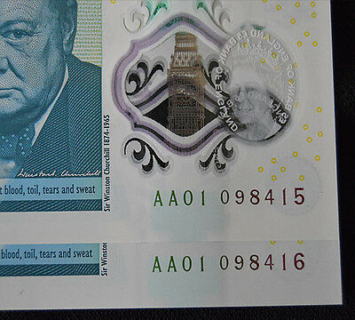 2x NEW £5 NOTE - 2x NEW 5 POUND POLYMER NOTE AA01 LOW SERIAL NUMBERS CONSECUTIVE