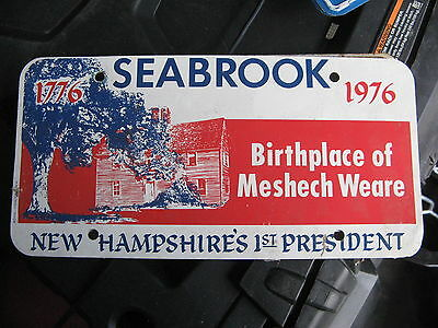 1776 1976 76 Seabrook Nh Meshech Weare First President 1St Booster License Plate